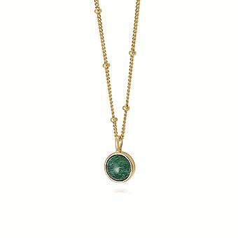 Daisy Green Aventurine Healing Stone 18ct Gold Plate Necklace HN1001_GP