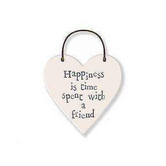 Happiness with a Friend - Mini Wooden Hanging Heart - Cracker Filler Gift