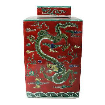 Fine Asianliving Chiński Imbir Jar Ręcznie malowany Dragon Porcelain Red W18xD18xH34cm