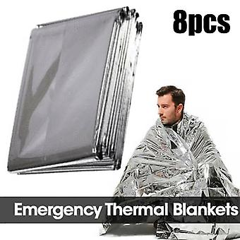 (8PCS) 1/4/8 Pcs Outdoor Survival Safety Insulating Heat Thermal Emergency Blankets,