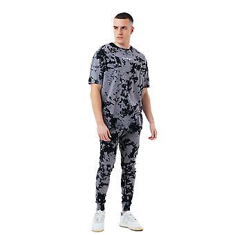 ハイプ メンズ アシッド ウォッシュ オーバーサイズ T シャツ