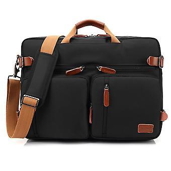 Convertible Backpack Messenger Bag Shoulder Bag Laptop Case Handbag Business Briefcase For 17.3 Laptop-black Peony