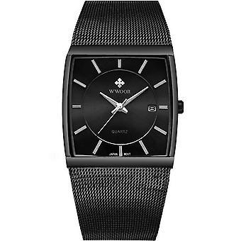 Square Dial Luminous Display Men Wrist Watch Mesh Steel Calendar Quartz Watch BLACK COLOUR