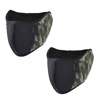 2pc Winter Warm Earmuffs Breathable Mouth Cover Ear Protectors Half Face Mask