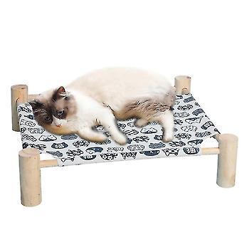 Cat Bed , Cat Hamac din lemn masiv Canvas poate fi eliminat (alb)