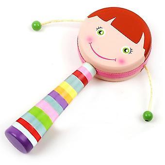 手描きのドラム型ラガラ漫画 両面木製子供のおもちゃのおもちゃのドラム