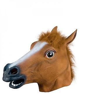 Halloween Máscara de cabeza de caballo Máscara de animal Máscara de fiesta Disfraz divertido loco (marrón)