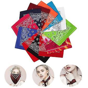 Multicolor Non-fading Paisley Design Square Cotton Large Bandanas Men