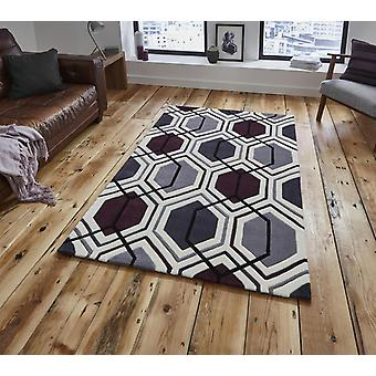 HK 7526 Cream Dark Purple  Rectangle Rugs Modern Rugs