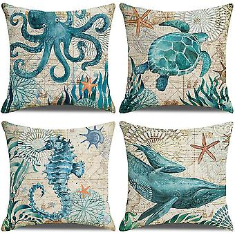 Pack Of 4 Cushion Covers, Turtles Seahorses Whales Octopus Pattern 18x18 Inches