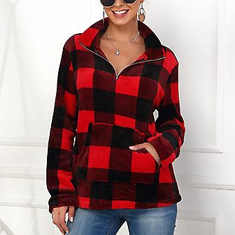 Hiver Femmes Plaid Manches Longues Pull Pull Sweatshirt Col Haut Pull Top