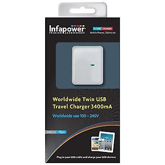Infapower in tutto il mondo Twin USB Travel Charger 3400mA (P024)