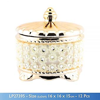 GOLD MILLE SYLISH CERAMIC TRINKET JEWELLERY BOX WITH FLOWERS DECORATION AND STONES