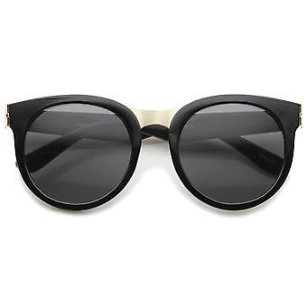 Oversize metalen neusbrug ronde lens hoorn omrande zonnebril 52mm