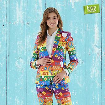 Peacemaker 60 ladies suit Rainbow flower power 2-piece costume deluxe EU SIZES