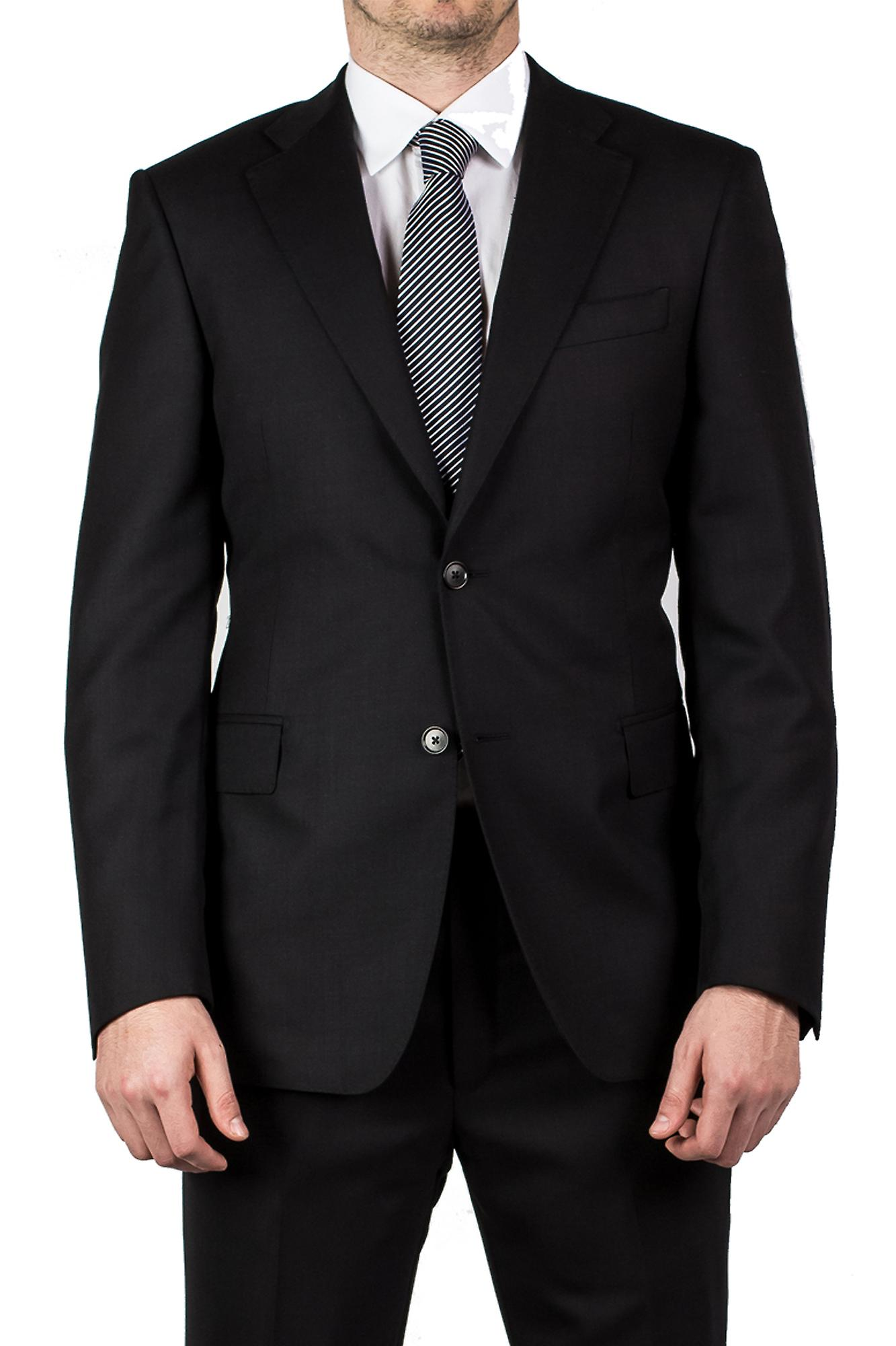 Luciano Barbera Club Men's Wool Two Button Slim Fit Suit Black