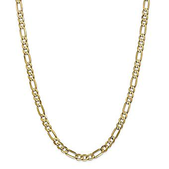 14k Yellow Gold Solid Polished 6mm Concave Open Figaro Chain Necklace Lobster Claw Jewelry Gifts for Women - Length: 18
