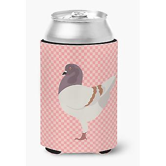 German Modena Pigeon Pink Check Can or Bottle Hugger