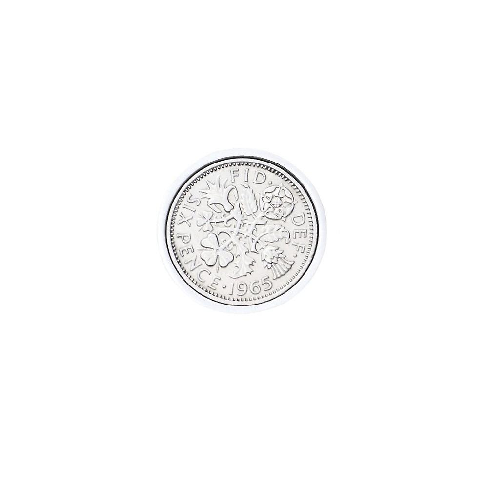 Genuine Polished 1965 Sixpence in Lapel Pin | 1965 anniversary, 54th birthday