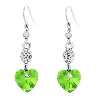 Damen Herz geformten baumeln Ohrringe grün