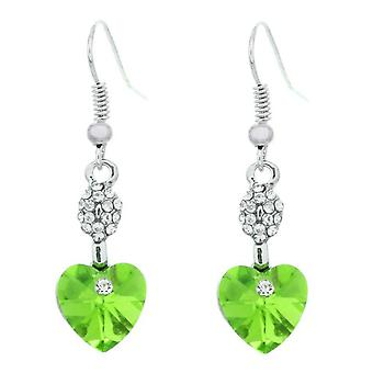 Damer hjerte formet Dingle grønne øreringe