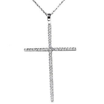 Weißgold .70CT echte Diamant Kreuz Anhänger Halskette