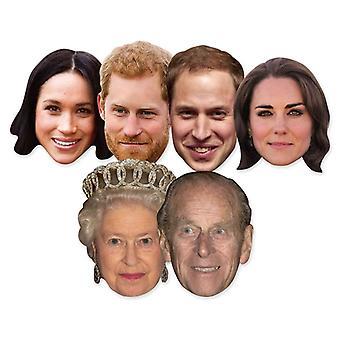 Royal Wedding 2018 Fancy Dress Masks - 6 Pack inc Harry, Meghan & The Queen