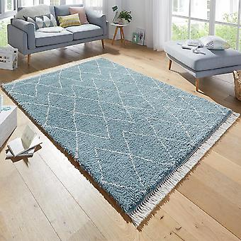 Design carpet deep pile jade blue fringe
