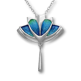 Sterling Silver Scottish Pat Cheney Enamel Hand Crafted Necklace Pendant Aquamarine - EP754