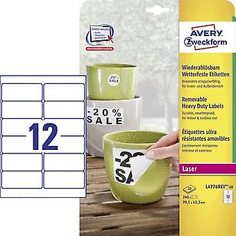 Avery-Zweckform L4776REV-20 Labels 99.1 x 42.3 mm Polyester film White 240 pc(s) Removable Address labels, Weatherproof labels
