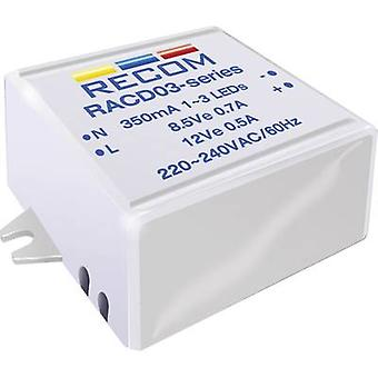 Recom Lighting RACD03-700 Constant current LED driver 3 W 700 mA 4.5 V DC Max. operating voltage: 264 V AC