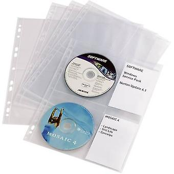 Holdbar 4X CD/DVD stansede lomme 4 cd'er/dvd'er/Blu-Rays polypropylen transparent 10 pc (s) 523819