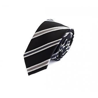 Schlips Krawatte Krawatten Binder 6cm schwarz grau weiß gestreift Fabio Farini