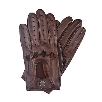 Monza Leather Driving Gloves in Dark Tan