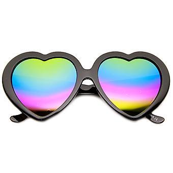 Naisten ylimitoitettu Rainbow väri peilin linssin sydämen muoto aurinkolasit