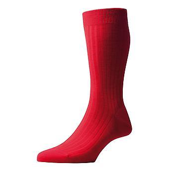 Meias de lã de Merino de costela Laburnum Pantherella - Índias vermelho