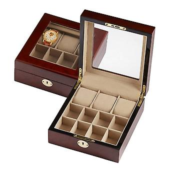 Woodford Watch and Cufflink Box - Wood Brown/Beige