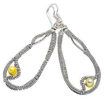 "Yellow Cultured Pearl Earrings 2 1/4"" (925 Sterling Silver)  - Handmade Boho Vintage Jewelry EARR355234"