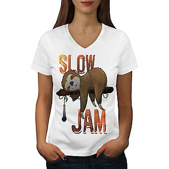 Música animal Jam mujeres WhiteV-cuello camiseta | Wellcoda