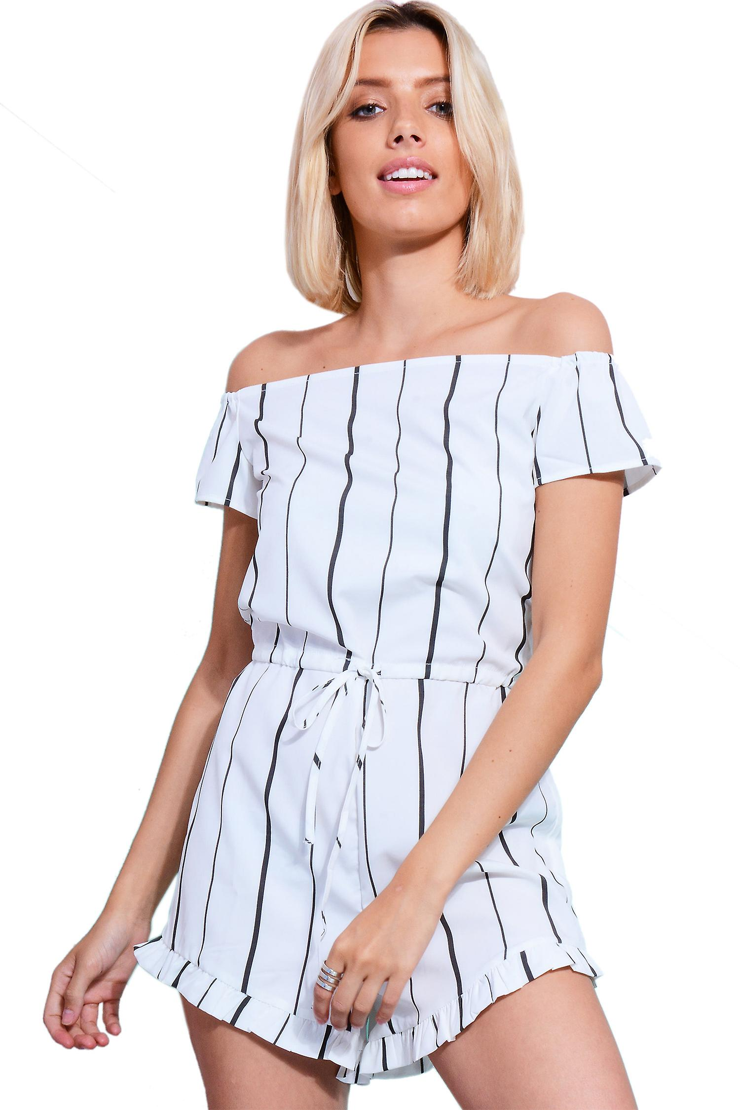 Lovemystyle White Playsuit With Frills And Stripes