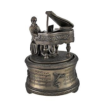 Bronzé Mozart jouant Spinning Piano Music Box