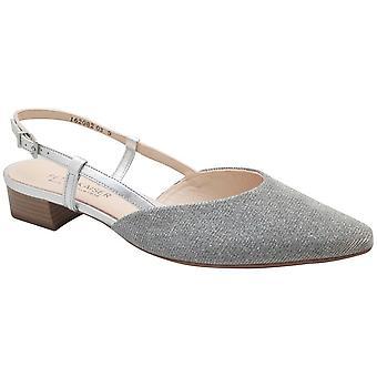 Peter Kaiser Low Heel Silver Sling Back Sandals