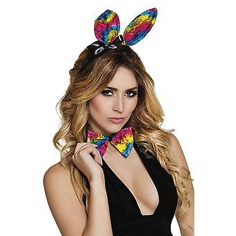 Womens Rainbow Lace Bunny instellen oren & strikje Fancy Dress accessoire