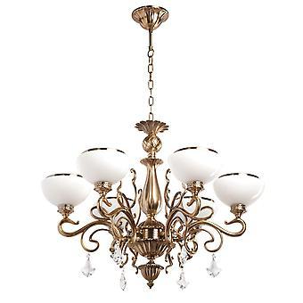 Glasberg  -  Honey Bronze Six Light Chandelier With Opal Glass Shades  481010506