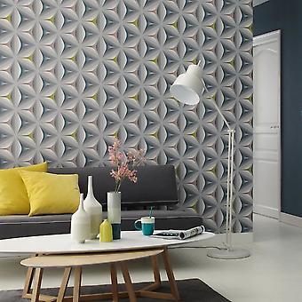 3D geometrische Behang Retro Abstract reliëf bloem grafische grijs Teal Olive
