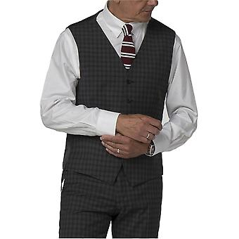 Gibson London Gibson London Charcoal Small Check Waistcoat