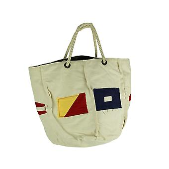 White Canvas Natucial Flag Patches Rope Handle Tote Bag