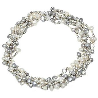 Pearls of the Orient 6 Strand Cultured Freshwater Pearl Necklace - Grey/White
