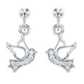 Ah! Jewellery Women's Bird Earrings Handset with Crystals From Swarovski Sterling Silver