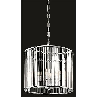 Firstlight-4 Light Ceiling Pendant-Round Chrome, Clear Glass Rods-7625CH